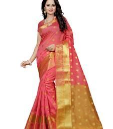 Buy Pink hand woven silk saree with blouse banarasi-saree online