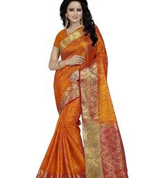 Buy Orange hand woven silk saree with blouse banarasi-saree online