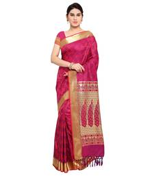 Buy Purple printed kanchipuram silk saree with blouse pongal-dhoti-saree online