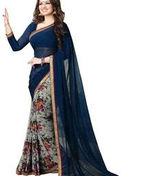 Buy Multicolor printed crepe saree with blouse crepe-saree online