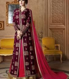 Buy Wine embroidered silk salwar wedding-season-sale online