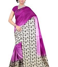 Buy Purple printed Benglori silk saree with blouse bangalore-silk-saree online