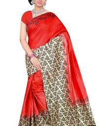Buy Red printed Benglori silk saree with blouse bangalore-silk-saree online