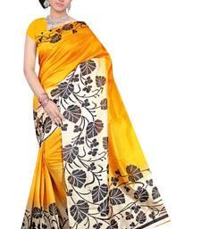 Buy Yellow printed Benglori silk saree with blouse bangalore-silk-saree online