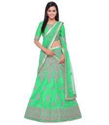 Buy Green embroidered silk unstitched lehenga with dupatta karva-chauth-lehenga online