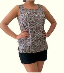 Buy White and  Dark Green and  Multicolor Crepe tops top online