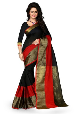 Black woven banarasi cotton saree with blouse