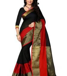 Buy Black woven banarasi cotton saree with blouse hand-woven-saree online