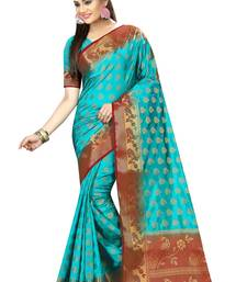 Buy Light blue woven nylon saree with blouse hand-woven-saree online