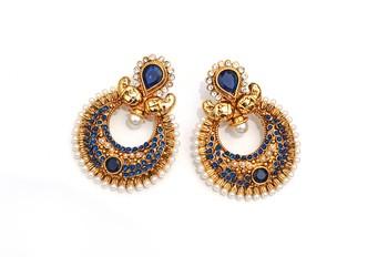 Blue Half-moon Stone & Pearl Earrings