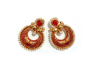 Red Half-moon Stone & Pearl Earrings