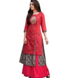 Buy Red embroidered chanderi long-kurtis long-kurtis online