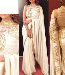 Buy Cream embroidered georgette saree with blouse designer-embroidered-saree online