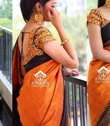 Buy Orange plain art silk saree with blouse party-wear-saree online