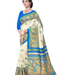 Buy Beige printed south silk saree with blouse south-indian-saree online