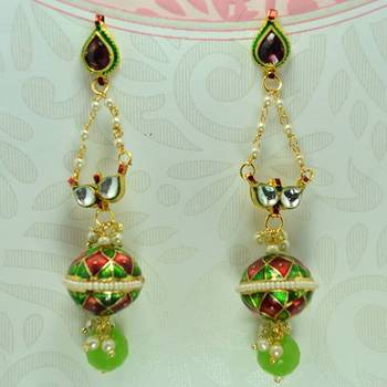 Meenakari Ball Earrring with Eye Kundan Red Green