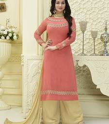 Buy salmon embroidered faux georgette unstitched salwar with dupatta palazzo online