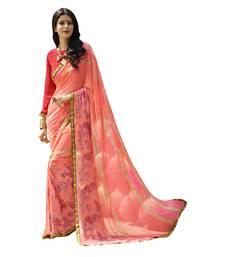 Buy pink printed georgette saree with blouse georgette-saree online