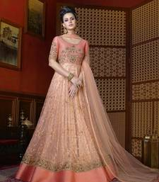 Buy Salmon embroidered net salwar party-wear-salwar-kameez online
