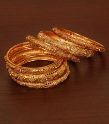 Buy Gold Plated Gheru Copper Made Zircon Worked Bangles Set bangles-and-bracelet online