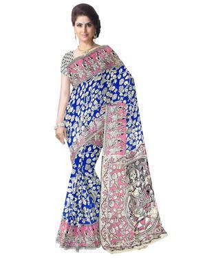 GiftPiper Kalamkari Silk Saree  -Light Pink & Blue