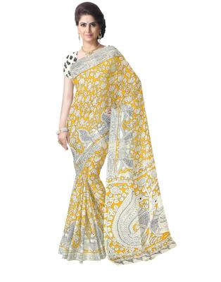 GiftPiper Kalamkari Saree in Cotton-Yellow&White