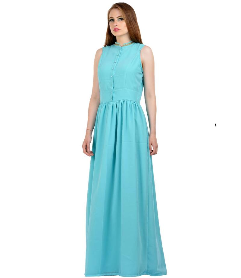 Buy Turquoise Plain Stitched Georgette Maxi Casual Dresses