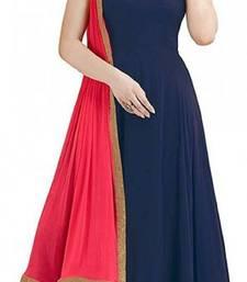 Buy blue embroidered georgette semi-stitched salwar uit with dupatta salwar-kameez-below-1000 online