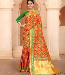 Buy Orange woven silk saree with blouse silk-saree online