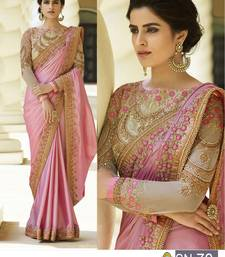 Buy Pink embroidered bemberg saree with blouse wedding-saree online