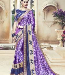 Buy Purple embroidered kanchipuram silk saree with blouse wedding-saree online