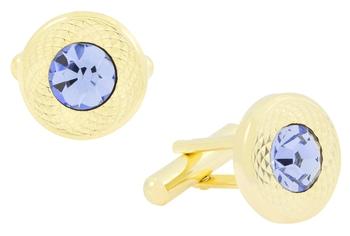 Matte  Gold Plated Round Blue Cufflink Pair For Men