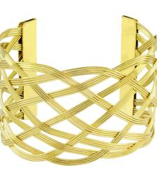 Buy Wire Mesh Party Statement Imported 18K Gold Free Size Cuff Kada Bangle Bracelet For Girls Women party-jewellery online