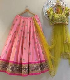 Buy Light pink embroidered art silk unstitched lehenga black-friday-deal-sale online