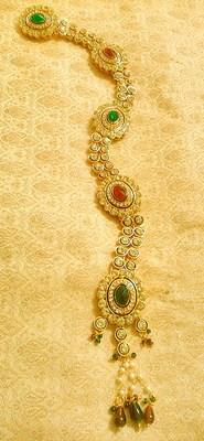 Designer Maroon Green Kundan Choti Hair Accessories Ethnic Wedding Jewelry