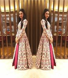 Buy Cream plain silk semi-stitched indo-western suit salwar-kameez online