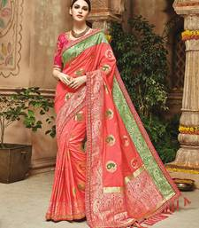 Buy Salmon woven silk saree with blouse silk-saree online