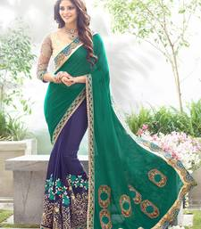 Buy Teal embroidered georgette saree with blouse party-wear-saree online