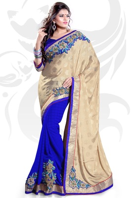 Beige and Blue Jacquard and Chiffon Embroidered Saree With Blouse