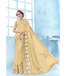 Buy Cream embroidered chiffon saree with blouse wedding-saree online