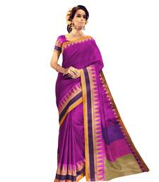 Buy Magenta printed bhagalpuri cotton saree with blouse bhagalpuri-silk-saree online