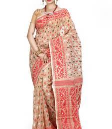 Buy Beige hand woven silk cotton saree  jamdani-saree online