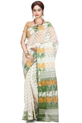 White hand woven silk cotton saree