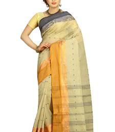 Buy Off white hand woven cotton saree  handloom-saree online