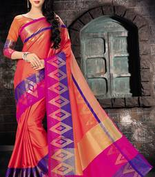 Buy Orange printed silk saree with blouse pongal-dhoti-saree online