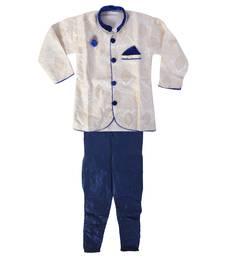 Buy blue denim salwar embroidered kids  sherwani boys-sherwani online