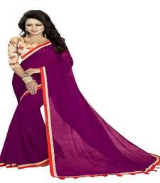 Buy Wine printed cotton saree with blouse cotton-saree online