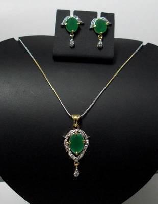 CZ Emerald Green Designer Pendant 026