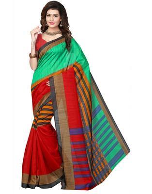 GiftPiper Cotton Silk Printed Saree-Multicolored