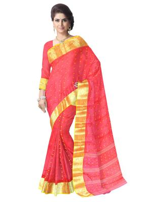 GiftPiper Bengali Tant Saree with Booti Motifs - Red & Yellow